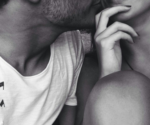 amour, black and white, and couple image