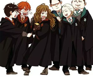 harry potter, draco malfoy, and hermione image
