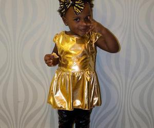 black and gold, kid, and chic image