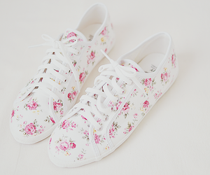 shoes, girl, and flowers image