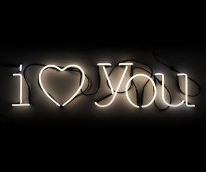 black, neon, and I Love You image