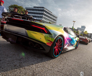 Lamborghini, car, and rainbow image