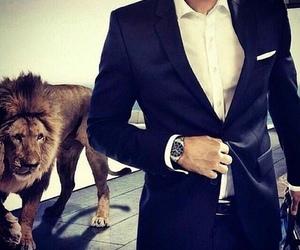 lion, suit, and man image