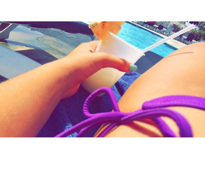 bathing suit, nails, and tanned image