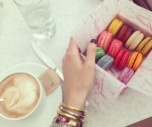 food, coffee, and macarons image