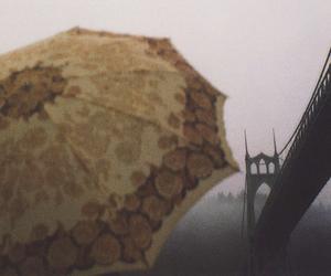 rain, umbrella, and bridge image