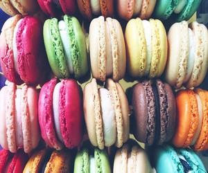 food, colors, and macaroons image