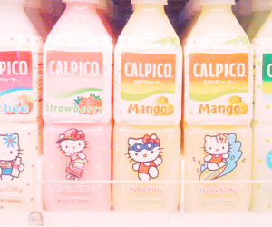 drink, hello kitty, and mango image