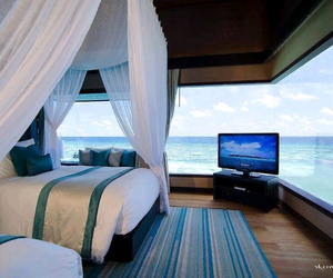 home, sea, and bedroom image