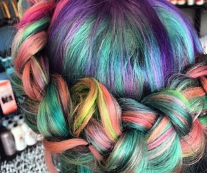 hair, braid, and rainbow hair image