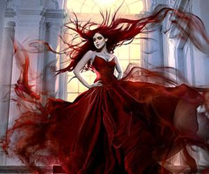 art, red, and dress image