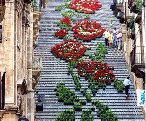 flowers, italy, and stairs image