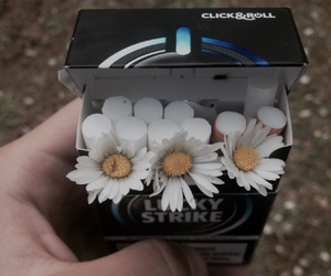 flowers, cigarette, and grunge image