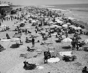 beach, black and white, and california image