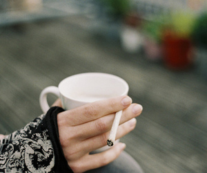 cigarrete, cup, and girl image