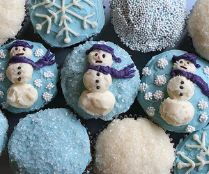 cupcake, winter, and snowman image