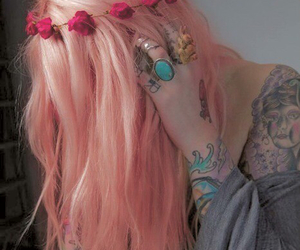 hair, tattoo, and pink image