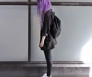 grunge, purple hair, and sad girl image