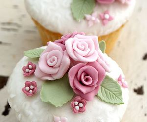 rose, cupcake, and flowers image