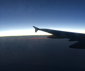 sky, airplane, and sunset image