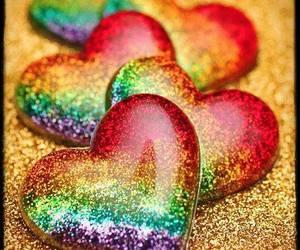 hearts, rainbow, and heart image