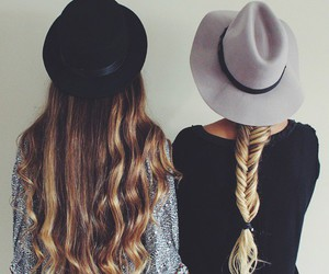 hair, girl, and hat image