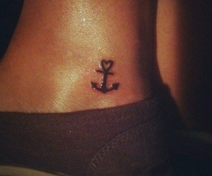 anchor tattoo, ankle, and heart image