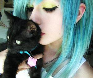 girl, cat, and blue hair image