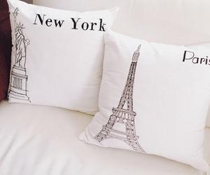 paris, new york, and pillow image