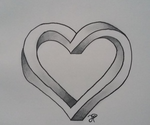 drawing, heart, and impossible image