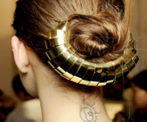 hair, gold, and tattoo image