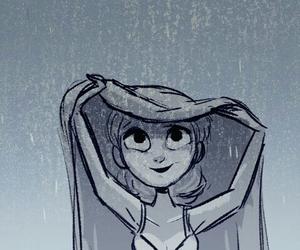 rain, girl, and drawing image