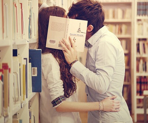 couple, kiss, and library image