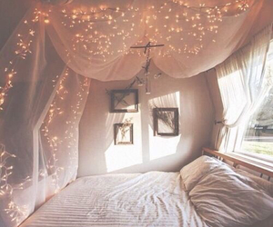 bedroom, photographs, and twinkly lights image