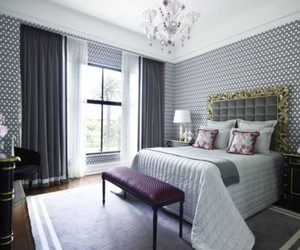 bedroom design, curtains design, and bedroom curtains image