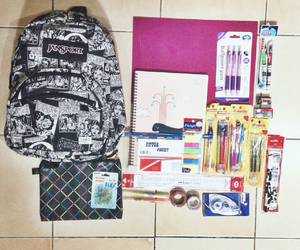 bagpack, school, and supplies image