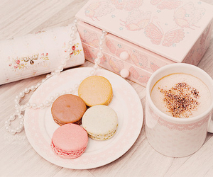 pink, macaroons, and food image