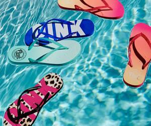 summer, pink, and flip flops image