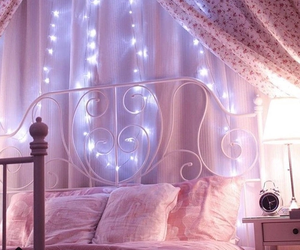 pink, bed, and light image