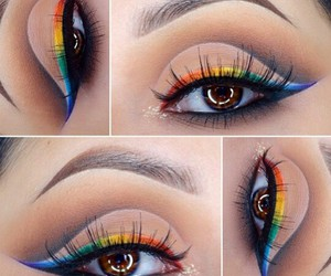 eyes, rainbow, and makeup image