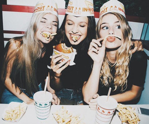 friends, food, and girl image