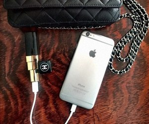 charger, iphone, and lipstick image