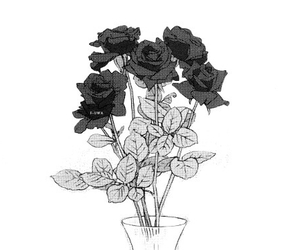 flowers and monochrome image