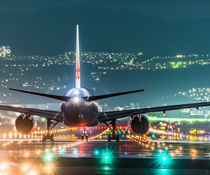 travel, lights, and airplane image