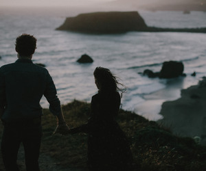 love, couple, and ocean image