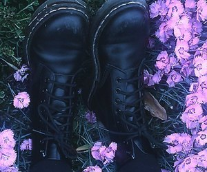 grunge, boots, and flowers image
