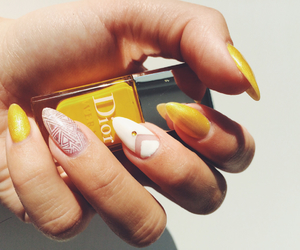 beautiful, nails, and yellow image