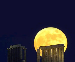 full moon, acropolis, and Athens image