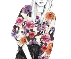 fan art, Harry Styles, and flowers image