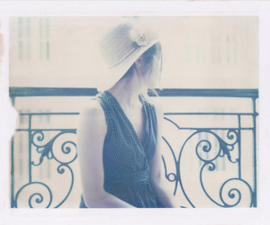 girl, hat, and polaroid 180 image